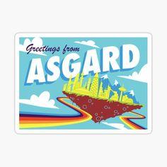 Pegatina ''Postal retro de Asgard' de Kaley Wisner