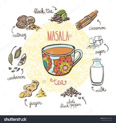 Vector Illustration Traditional Indian Hot Drink Stock Vector (Royalty Free) 398732644 Vector Illustration With Traditional Indian Hot Drink Masala Tea. Masala Chai, Tea Recipes, Indian Food Recipes, Recipe Drawing, Indian Illustration, Chai Recipe, Food Journal, Food Drawing, Food Illustrations