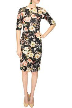 PARISIAN CHIC - Black floral and bird print dress by Nishka Lulla. Shop at www.perniaspopups... #designer #couture #nishkalulla #chic #shopnow #perniaspopupshop #happyshopping