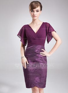 Mother of the Bride Dresses - $129.99 - Sheath/Column V-neck Knee-Length Chiffon Taffeta Mother of the Bride Dress With Ruffle (008005927) http://jjshouse.com/Sheath-Column-V-Neck-Knee-Length-Chiffon-Taffeta-Mother-Of-The-Bride-Dress-With-Ruffle-008005927-g5927?snsref=pt&utm_content=pt
