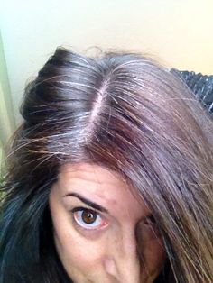 Month 3-- big ol' stripe of silver at my part.  I think it will be cool once it's long... This 2 inch chunkiness is annoying.  My colored hair is very auburn brown and my natural color is coming in much darker with pewter/white streaks.