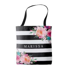 Pink Watercolor Floral Black White Stripe Tote Bag