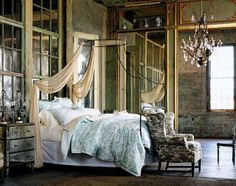 I like the rustic feel of this bedroom