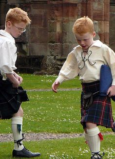 Two Scottish Boys in Kilts at Melrose Abbey, Scotland