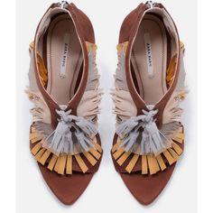 Zara Tri-Color Sandal With Fringe ($119) ❤ liked on Polyvore featuring shoes, sandals, fringe, zara, zara sandals, multi color sandals, zara footwear, leather shoes and leather fringe sandals