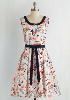 Oui Are the World Dress - Multi, Novelty Print, Belted, Sleeveless, Better, Woven, French / Victorian, Print, Peter Pan Collar, Daytime Party, Vintage Inspired, 50s, 60s, Long, Fit & Flare