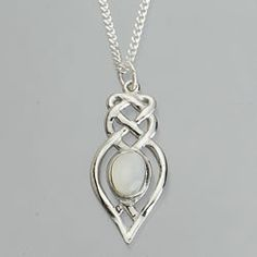 Celtic Knot Pewter Pendant Set with a Mother of Pearl.