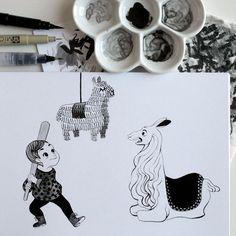 Inktober 29: Détruire.  Inktober 29: Wreck.  #inktober #inktober2016 #drawingchallenge #inking #ink #drawing #illustration #artistsoninstagram #kidlitart #art #sketch #sketchbook #pentel #pentelbrushpen #pinata #piñata #lama #llama