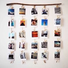 A wooden branch for hanging Polaroids, a decorative DIY canon! - P H O T O - Deco Home Photo Polaroid, Polaroid Wall, Polaroid Display, Polaroid Pictures Display, Polaroid Crafts, Hang Pictures, Instax Wall, Display Photos, Hanging Polaroids