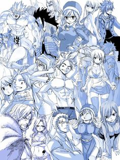 Hiro Mashima drawing collage