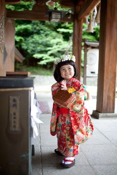 Japanese girl in kimono - all smiles
