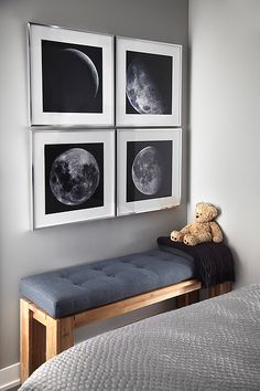 Gray walls, photographs of full and decrescent moon in polished chrome frames, wooden bench blue tufted linen cushion (custom). Build-a-bear Teddy bear. Kitchen Style, Interior Design, Decor Design, Furniture, Wooden Bench, Decor Interior Design, Interior, Bedroom Bench, Grey Walls