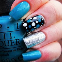 Blue, glitter, polka dots nails. Nail Art. Nail Design. Polished. Polishes. OPI. Instagram by @ignailposts