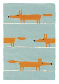 Design-Teppich Mr Fox Aqua in Blau von Scion | Kinderzimmer Teppich Skandi | ONLOOM