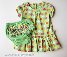 This was a long sleeve shirt, re-purposed into a short-sleeved dress with ruffled bottoms