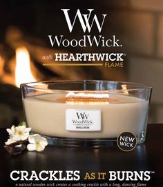 WoodWick Candles - Crackles as it burns... From Boots http://m.boots.com/h5/cat_hub?path=%2Fen%2FWoodWick-HearthWick-Fireside-Eclipse-Candle_1715423%2F&unCountry=uk