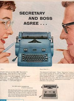 turquoise typewriter ad