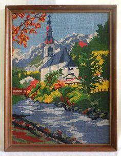 Vintage Needlepoint Landscape Snowy Mountains Alpine Church River New England  #na