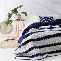 Boho Chic Interior Design - Bohemian Bedroom Design - Josh and Derek Home Bedroom, Master Bedroom, Bedroom Decor, Bedrooms, Indigo Bedroom, Estilo Colonial, Striped Quilt, Shibori, Home Textile