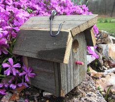 Rustic Barn Wood #Birdhouse - reclaimed wood - gambrel roof - miniature decorative bird house. $12.00, via Etsy.