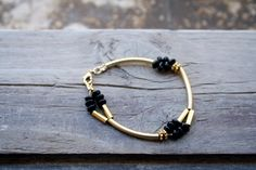 Gold tube bracelet black onyx bracelet boho chic by SharonTasker