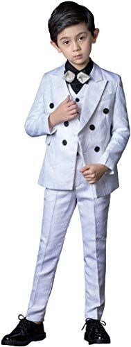 SaiLiiny Boys Blazer Slim Suit Coat with Lapel Formal Suits Black Blue Two-Button Jacket for Kids