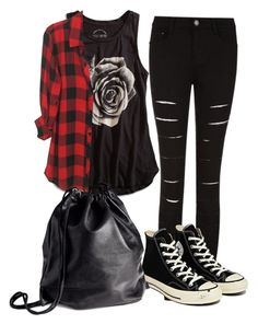 """My Outfit if I could go to Vans Warped Tour '15"" by phantomhivec ❤ liked on Polyvore featuring beauty, Lucky Brand, Converse and H&M"
