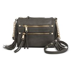 Women's Large Crossbody with Multiple Zipper Pockets and Side Fringes Grey - Cesca