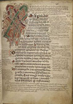 page from the Armagh Gospels, 12th century Irish, by Maelbrigte.    British Library