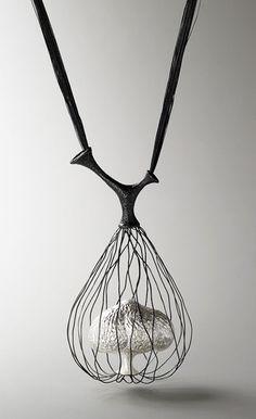 Wire cage pendant with mini tree sculpture - organic jewellery design; art jewelry // Eunju Park