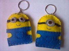 Chaveirinho Minions para lembrancinha confeccionado em feltro. Pedido mínimo 20 unidades R$ 5,00