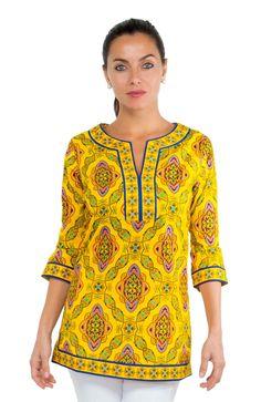 Persian - Cotton Split Neck Tunic