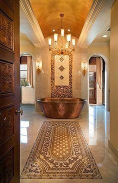 Beautiful Copper Tub i would have to make sure i had my brazil wax as i parade toward my copper bath. Dream Bathrooms, Beautiful Bathrooms, Luxurious Bathrooms, Copper Tub, Victorian Bathroom, Minimalist Bathroom, Bathroom Inspiration, Bathroom Ideas, Master Bathroom