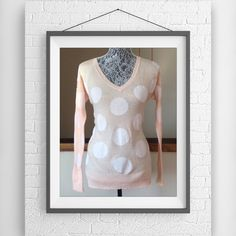NWT Love By Design Big Dot Sweater Sz S Lightweight sweater perfect for spring.  New with tags attached.  Love by design.  Purchased from Nordstrom.  Size small.  100% cotton.  Light peach with big dots.  Longer length. V-neckline. Love by Design Sweaters V-Necks