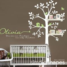 "This a tree decal that is created to work with standard 24"" wall shelves that you can find at your local Target, Walmart, Ikea etc.. (shelving NOT INCLUDED) There are three locations where you can fit the shelves. This tree looks great on its own as well!      Tree Size (approx): 55""w x 94""h    $88.00"