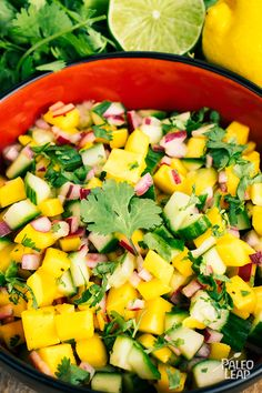 Cucumber And Mango Salad (Paleo Leap) Mango Recipes, Cucumber Recipes, Cucumber Salad, Salad Recipes, Juice Recipes, Shrimp Mango Salad, Cucumber Drink, Cucumber Seeds, Cucumber Water