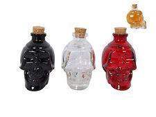 3pce 10cm Glass Slull Decanter Bottle with Cork, Black, Red, Clear, Set ebay