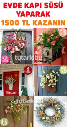 Earn 1500 TL by decorating the door at home - Diy and Crafts Diy Crafts For Gifts, Diy Home Crafts, Diy Home Decor, Diy 2019, Home Decor Styles, Christmas Wreaths, Projects To Try, Floral Wreath, Doors