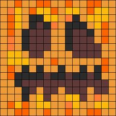 Minecraft Pumpkin Perler Bead Pattern | Bead Sprites | Characters Fuse Bead Patterns