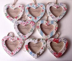 Gorgeous mini Hanging Heart photo frame decoupaged in Cath Kidston. From ChicRustiqueUK on Etsy. Decoupage Tutorial, Decoupage Box, Art For Kids, Crafts For Kids, Vintage Room, Hanging Hearts, Cute Little Things, Photo Heart, Cath Kidston