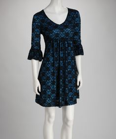 Another great find on #zulily! Teal & Black Lace Bell-Sleeve Dress by Reborn Collection #zulilyfinds