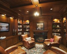 Interesting book shelves in a traditional room...LW