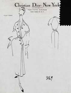Preview: Raf Simons on Showing Dior's Resort Collection in Brooklyn. Sketch by Christian Dior from the Christian Dior 1952 New York collection.