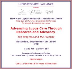Join us for our free scientific conference, Advancing Lupus Care Through Research on Saturday, September 10! Learn about recent scientific discoveries and how you can help improve #lupus care! Register for the event today!