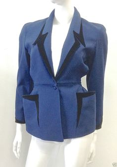 1980s THIERRY MUGLER BLACK VELVET TRIM BLUE JACKET SIZE 36 MADE IN FRANCE #THIERRYMUGLER