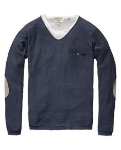 LONG-SLEEVED CREW NECK PULL WITH JUTE ELBOW PATCHES