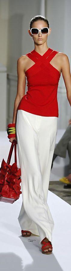 Oscar de la Renta...LOVE! red top whtie pants. @roressclothes closet ideas women fashion outfit clothing style