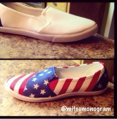 Easy DIY check it out   #americanflag #diy #shoes #fourthofjuly #july4 #patriotism #milso