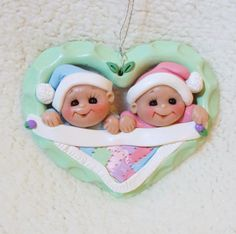 twin baby Christmas green children baby ornament, twin ornament, gift toddler personalized baby's first 1st quilt ornament polymer clay gift...
