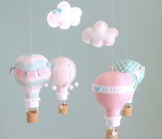 Pink and Aqua Baby Mobile Hot Air Balloon by sunshineandvodka, $150.00